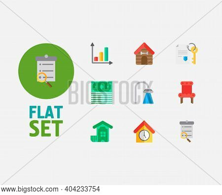 Property Icons Set. Leased And Property Icons With Progress Up, Search Listing And Property Paper. S
