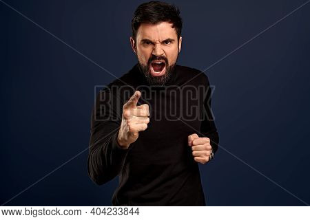 Man Threatening Person With Angry Outraged Expression, Lose Temper Standing Distressed, Pointing Cam