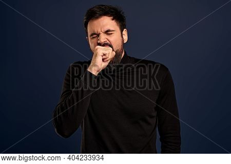 Handsome Guy Being Bored Talking With Stranger About Random Staff, Yawning Cover Opened Mouth With F