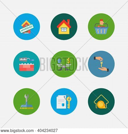 Property Icons Set. Deal And Property Icons With Property Valuation, Home And Buyer. Set Of Coin For