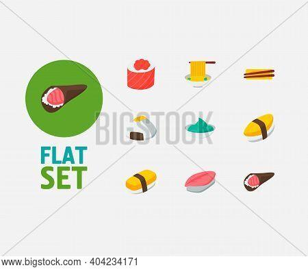 Nutrition Icons Set. Saba Nigiri And Nutrition Icons With Japanese Cuisine, Tamago Nigiri And Wasabi