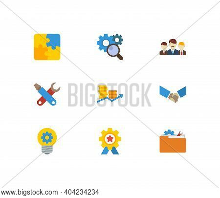 Technology Cooperation Icons Set. Teamwork And Technology Cooperation Icons With Creativity, Researc