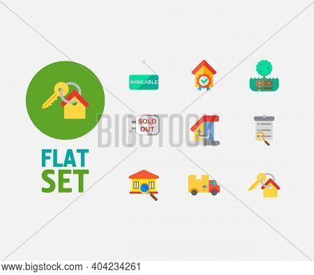 Property Icons Set. Key And Property Icons With Inspection, Move And Change Of Housing. Set Of Magni