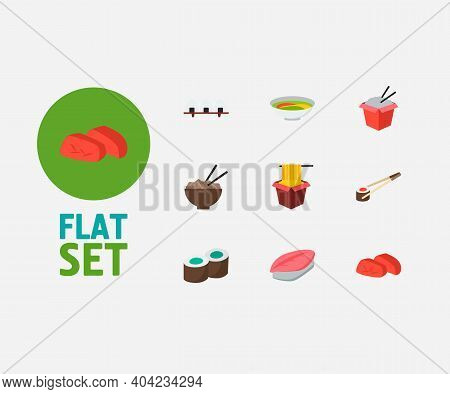Sushi Icons Set. Kappa Maki And Sushi Icons With Hawker, Saba Nigiri And Sashimi. Set Of Chopsticks
