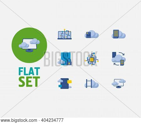 Cloud Service Icons Set. Secure Account And Cloud Service Icons With Virtual Machine, Machine Learni