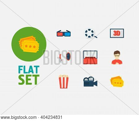 Cinema Icons Set. 3d Movie And Cinema Icons With 3d Glasses, Popcorn And Movie Director. Set Of Dime