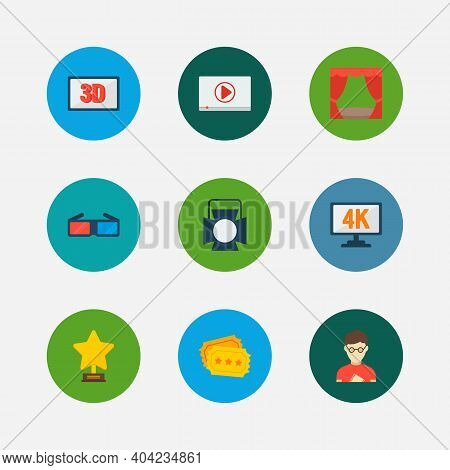 Video Icons Set. Play Video And Video Icons With Theater Curtain, Theater Spotlight And 3d Movie. Se