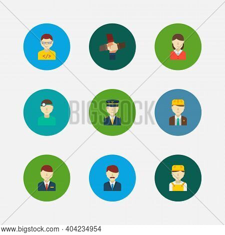 Occupation Icons Set. White Worker And Occupation Icons With Hotel Receptionist, Teamwork And Plane