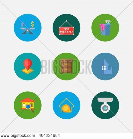 Property Icons Set. Location And Property Icons With House Measurement, Inspection And Property Valu