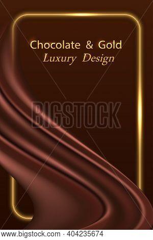 Chocolate Wave Silk Luxury Background With Golden Glowing Border Line.  Dark Brown Chocolate Satin C