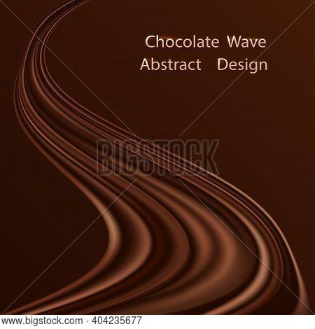 Chocolate Swirl Waye Background. Dark Brown Chocolate Creamy Wave With Smooth Silk Texture, Modern T