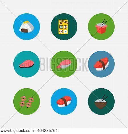 Nutrition Icons Set. Onigiri And Nutrition Icons With Maguro Nigiri, Salmon And Tako Maki. Set Of Fr