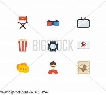 Cinema Icons Set. Play Video And Cinema Icons With Cinema Ticket, Television And Film Show. Set Of P