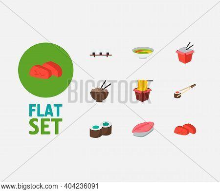 Food Icons Set. Kappa Maki And Food Icons With Hawker, Saba Nigiri And Sashimi. Set Of Chopsticks Fo