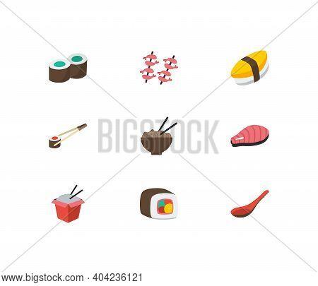 Sushi Icons Set. Kappa Maki And Sushi Icons With Unagi Nigin, Soup Spoon And Fast Food. Set Of Egg F