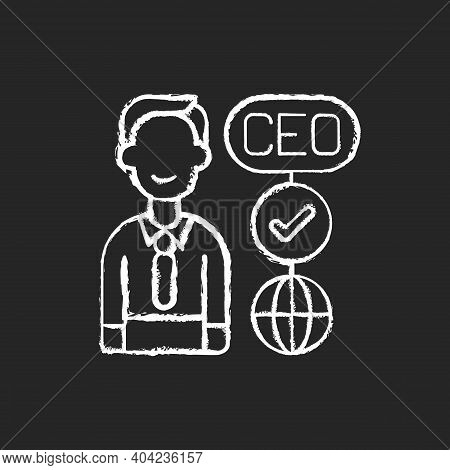 Ceo Chalk White Icon On Black Background. Chief Executive Officer. Highest-ranking Person In Company