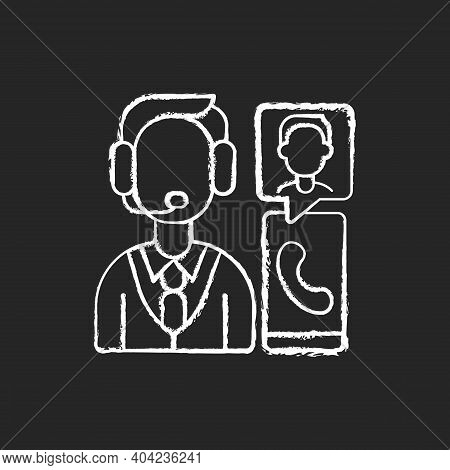 Customer Service Department Chalk White Icon On Black Background. Support Professionals. Providing S