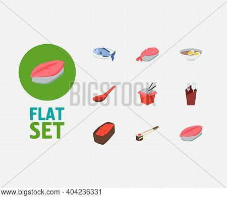 Sushi Icons Set. Gunkan And Sushi Icons With Saba Nigiri, Egg Soup And Fork With Spoon. Set Of Prepa