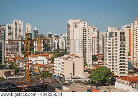 São Paulo, Brazil - November 4, 2020. City Skyline With Apartment Buildings In São Paulo. A Huge Ci