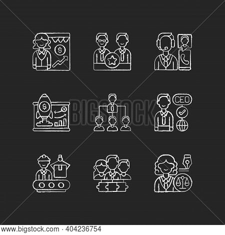 Corporate Hierarchy Chalk White Icons Set On Black Background. Sales Department. Executive Staff. Cu