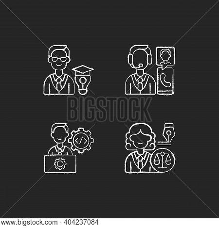 Management Structure Chalk White Icons Set On Black Background. Educational Management. Customer Ser