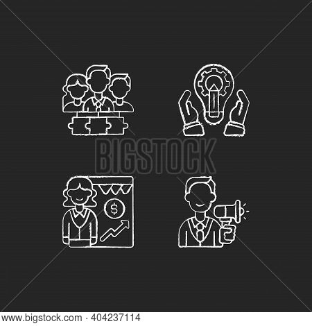 Hierarchical Org Structure Chalk White Icons Set On Black Background. Teamwork, Collaboration. Devel