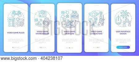 Video Game Design Components Onboarding Mobile App Page Screen With Concepts. Video Game Levels Crea