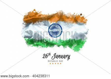 Illustration Of Happy Indian Republic Day For Poster Or Banner Background. Flag Of India Painting By