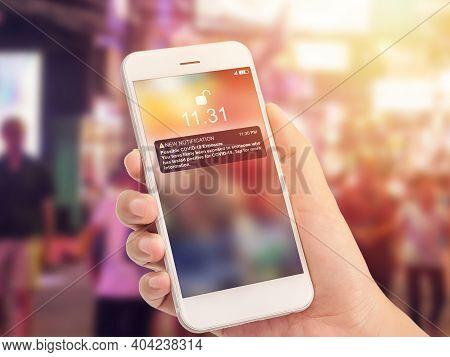 Coronavirus Covid-19 Exposure Notification Apps Concept. New Notification Message On Smartphone Scre