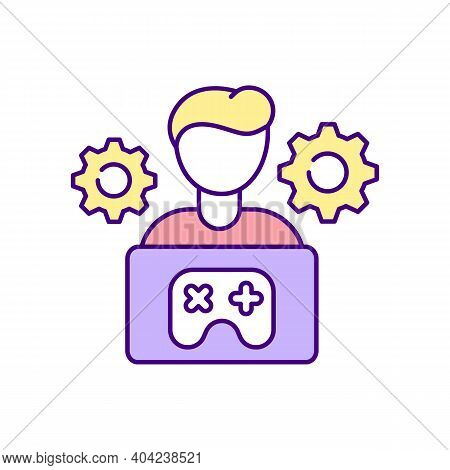 Game Mechanics Designer Rgb Color Icon. Game Designers Types. Process Of Developing Modern Technolog