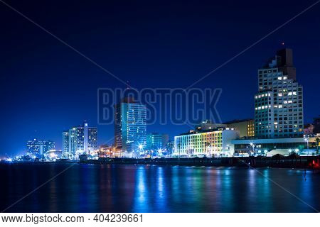 Tel Aviv City At Night, Tel Aviv City At Night, City Lights Reflected On Water
