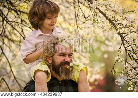 Best Dad Ever. Child Having Fun With Dad. Happy Family. Little Boy And Father In Nature Background.