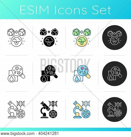 Microbiology Icons Set. Selective Breeding. Microbiology Experiment. Dna Microarray. Biotechnology A