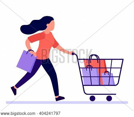 Woman Hurry Run To Sale In Shop. Girl Buyer With Shopping Cart Rush To Sale And Discount Items. Vect