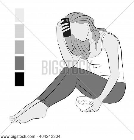 Image Of A Depressed Girl. Vector Illustration Of A Seated Woman. A Girl With A Phone And Food Sits