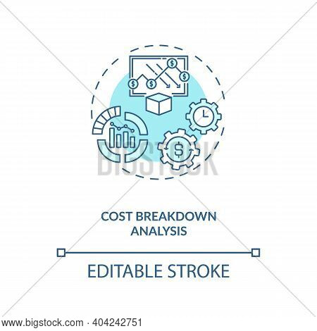 Cost Breakdown Analysis Concept Icon. Cost Reduction Strategy Idea Thin Line Illustration. Productio