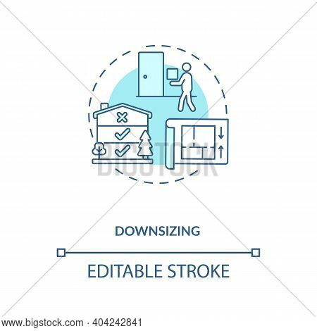 Downsizing Concept Icon. Manufacture Improvement Idea Thin Line Illustration. Value Chain Component.