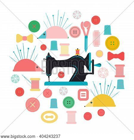Set Of Items For Sewing And Needlework. The Concept Of Sewing Craftsmanship. Flat Vector Illustratio