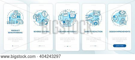 Cost Reduction Strategies Onboarding Mobile App Page Screen With Concepts. Product Benchmarking Walk