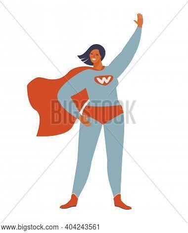 Superhero Woman Character. Wonderful Female Hero Character In Superhero Costume With Waving Cape Dis