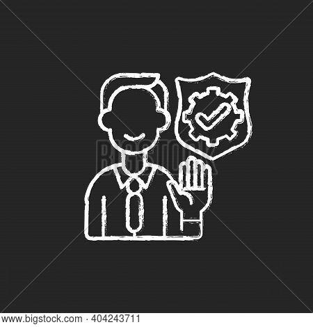 Integrity Chalk White Icon On Black Background. Company Employee Accountability. Core Corporate Valu