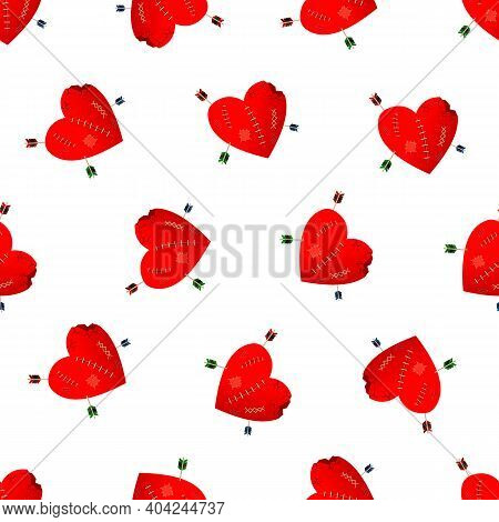Valentines Day Seamless Pattern. Lovely Broken And Crippled Heart, Large Wound Wounds And Cracks, Ar