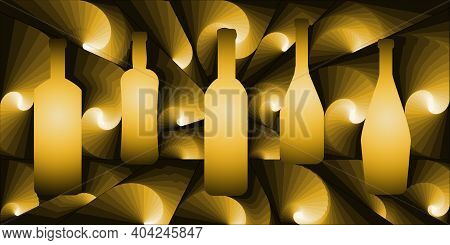 Digital Illustration With Abstract Design Of A Group Of Bottles With Yellow Gradient Color