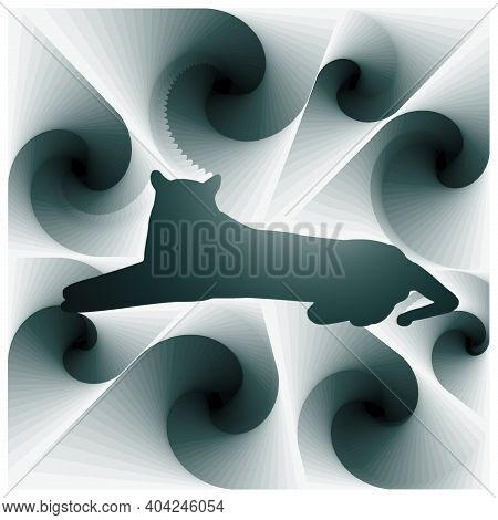 Digital Illustration With Abstract Design Of The Silhouette Of A Sitting Feline With Green Gradient