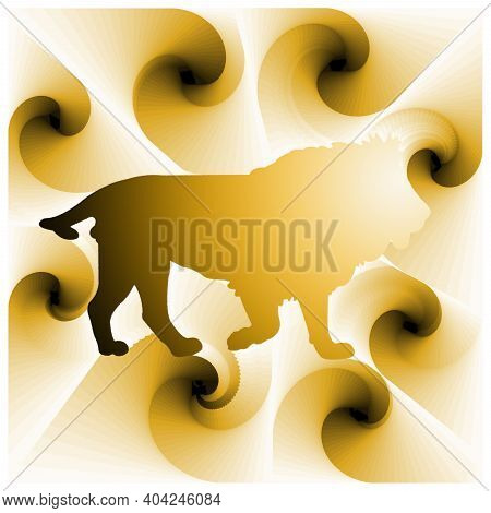 Digital Illustration With Abstract Design Of The Silhouette Of A Lion With Yellow Gradient Color
