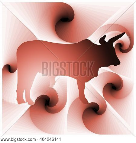 Digital Illustration With Abstract Design Of The Silhouette Of A Bull With Pink Gradient Color
