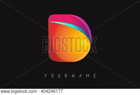 Letter D Logo With Gradient Color Design. Business Card Templates. Colorful Rounded Vector Illustrat