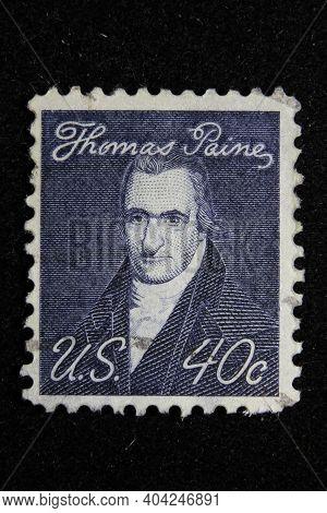 Istanbul, Turkey - December 25, 2020: Usa Stamp Shows Thomas Paine Circa 1965