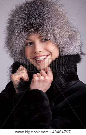 Beautiful Woman In A Fur Hat