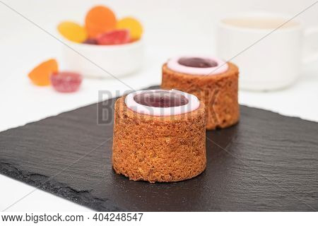 Runeberg Cakes (runebergin Torttu) - Traditional Finnish Homemade Pastry On A Slate Board, Close-up.